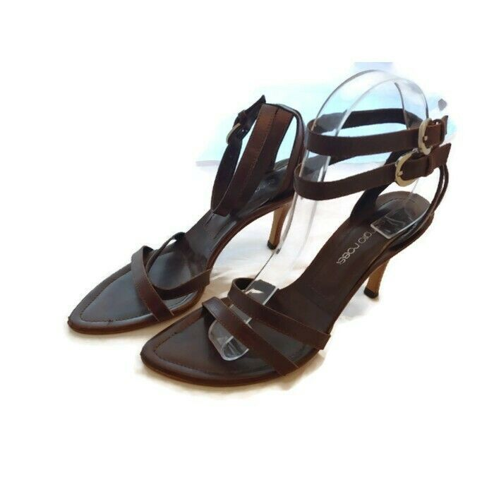 Sergio Rossi Strappy Ankle Strap Heels Brown Buckles Size 7.5 37.5 Pointy Toe