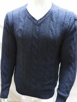 The Savile Row Company London Men V Neck Sz M Sweater Navy Shirt Medium