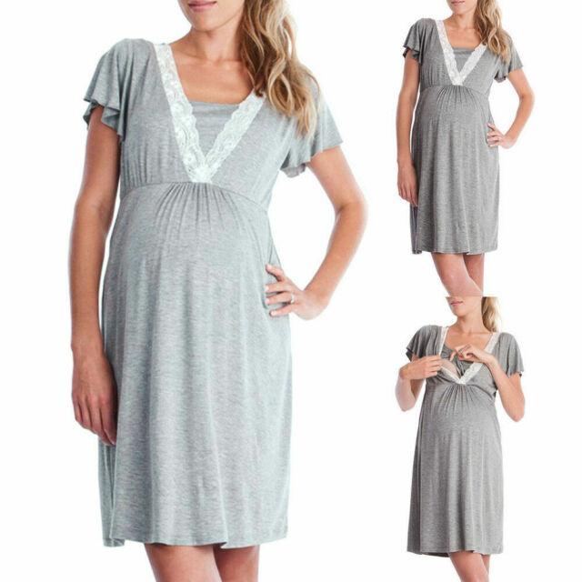 Ekouaer Striped Dress Nursing Maternity Dress for Women Soft Casual Breastfeeding Dress S-XXL