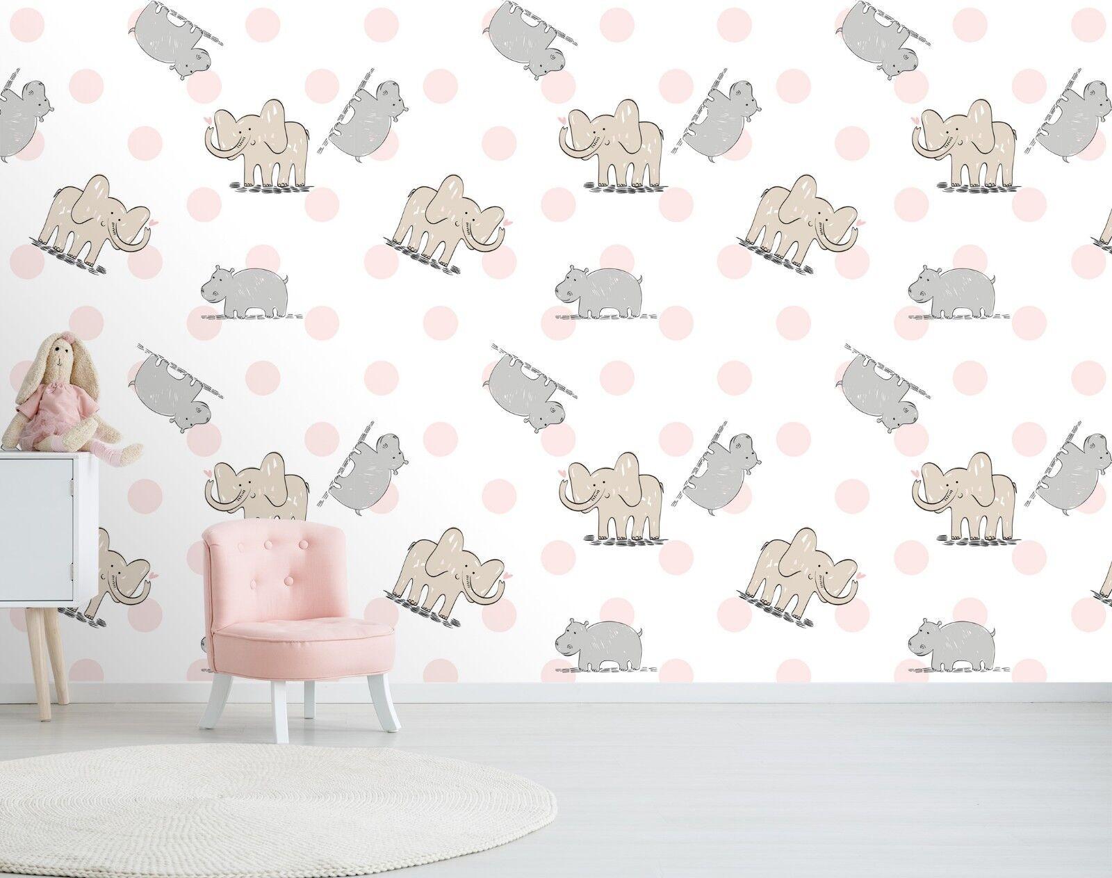 3D Hippo Elephant Animal 43 Wallpaper Murals Wall Print Wallpaper Mural AJ WALL