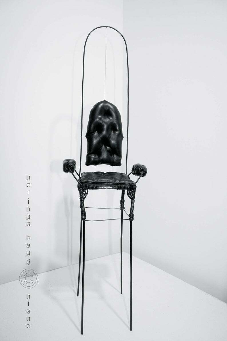 Large Wire zeigen armchair for BJD art dolls. Industry style tall and elegant.