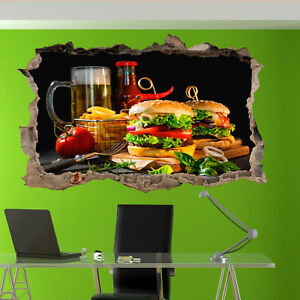 FOODS BURGERS CHIPS BEER WALL STICKERS 3D ART MURAL POSTER OFFICE SHOP DECOR UV4