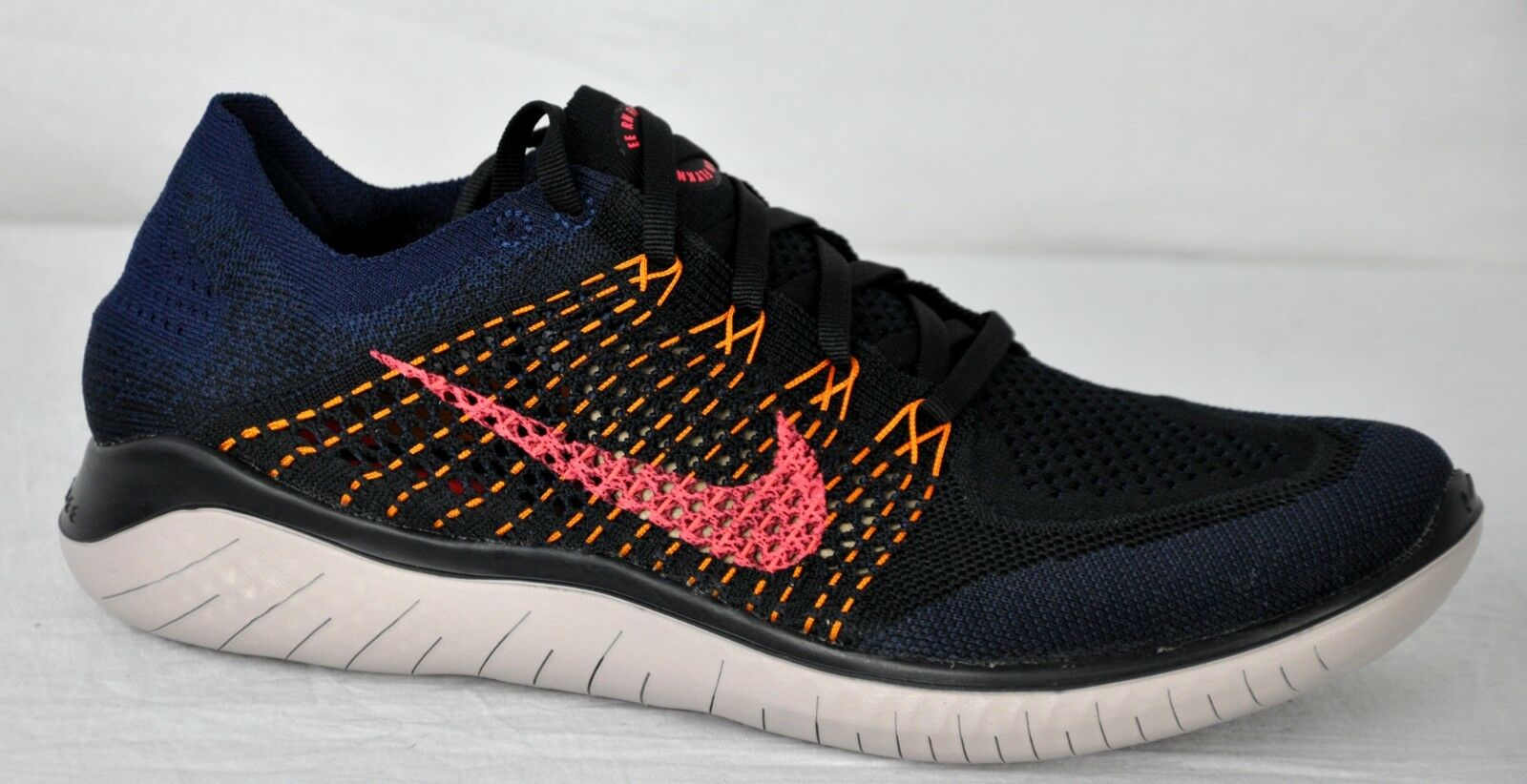 Nike Mens Free RN Flyknit 2018 shoes 942838 068 Black Flash Crimson Size 12