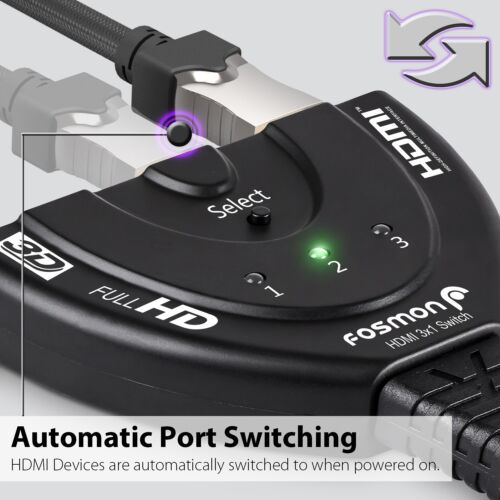 3x1 In Out 3 Port 1080P HDTV PS4 Xbox HDCP 3D HDMI Switch Hub Splitter Adapter