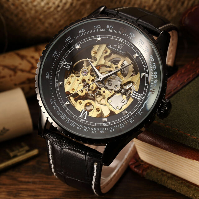 50MM KS Black Steampunk Transparent Skeleton Automatic Men's Mechanical Watch