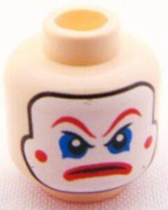 LEGO Green Cheeks Angry Pattern Head Face Paint Red Lips /& Eyebrows Minifig
