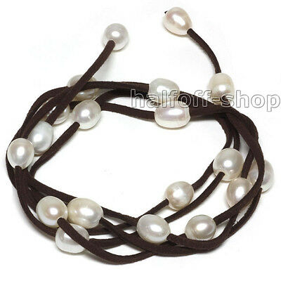 """New 48"""" White Freshwater Pearl on Brown Leather Wrap Bracelet / Necklace"""