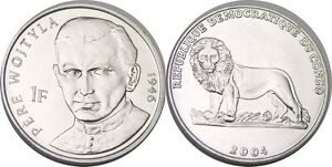 elf Congo Democratic Rep 1 Franc 2004 Lion Pope St John Paul II as a Cardinal