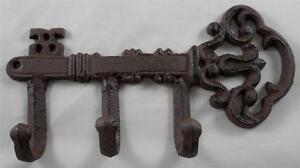 Iron Skeleton Key w/ Hooks Key Rack Key Holder Leash Hook Wall Decor