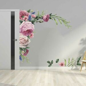 Removable Floral Wall Stickers Vinyl Art Flower PVC Decals Home Decoration Gift