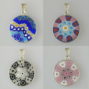 Murano-Glass-Millefiori-Anhaenger-rosa-Schmuck-Anhaenger-925-Sterlingsilber-rosa