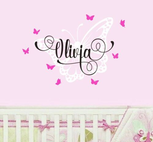 Large Monogram Wall Sticker Baby Name Letter Butterflies Fairy Girls
