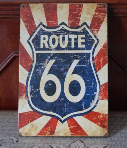 Vintage Shabby Chic Style Tin Signs Route 66 Metal Poster Pub Home Wall Plaque