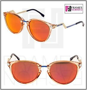 6d54bf6a9d7a5 Image is loading FENDI-IRIDIA-FF0039S-Crystal-Peach-Gold-Pink-Mirrored-