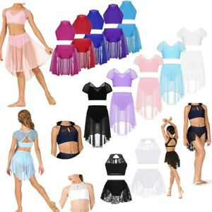 Girl-Lyrical-Praise-Dance-Dress-Ballet-Gymnastics-Leotard-Crop-Top-Skirt-Costume