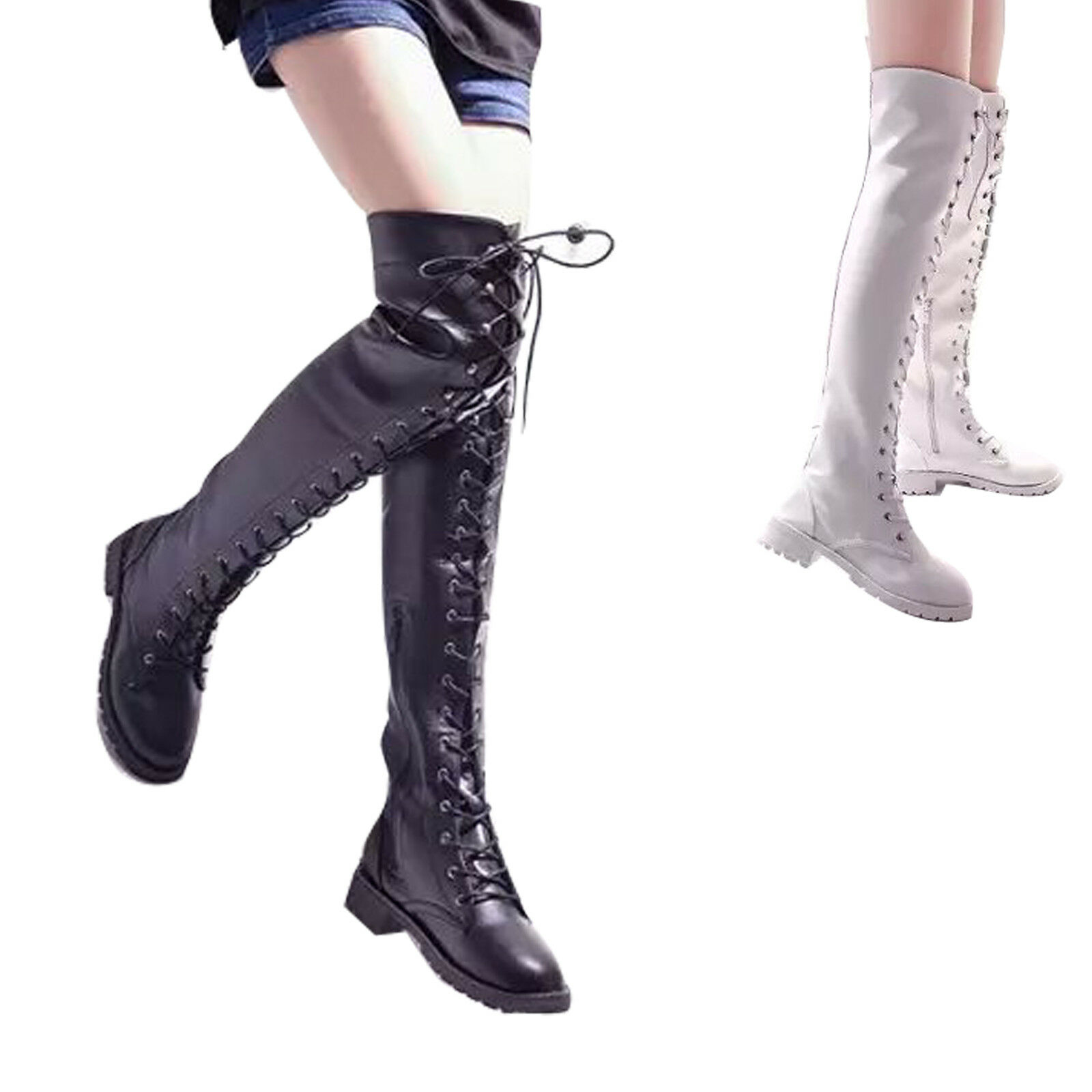 Womens Combat Military Riding Boot Over Knee Thigh High Flat Block Heel Lace Up