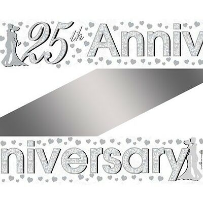 8ft x 25th Silver Wedding Anniversary Party Foil Banner Decoration