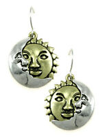 Sun And Moon Dangle Earrings Gold Silver Pewter Tone Celestial Fashion Jewelry