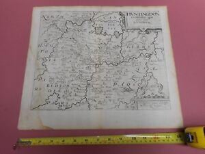 100-ORIGINAL-HUNTINGDONSHIRE-MAP-BY-SAXTON-KIP-C1610-SCARCE