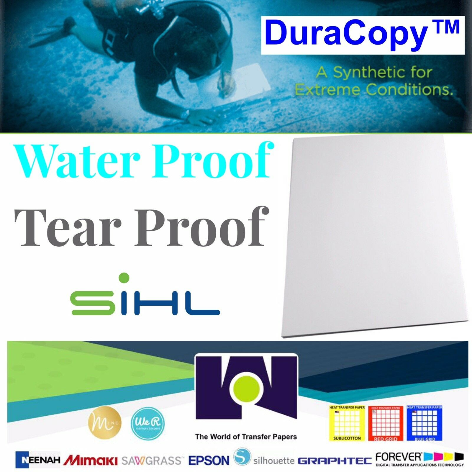 Sihl 3153 DuraCopy™ 8 Mil Synthetic C2S Matte, 100 8.5 x11  Sheets FREE SHIPPING