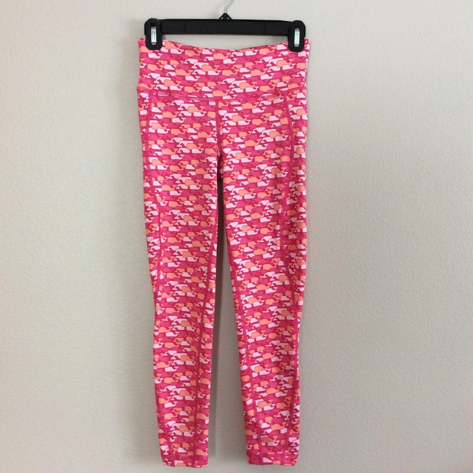 Vineyard Vines Women's Whale Outline Print Performance Leggings Pink XXSmall NEW