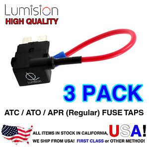 3 Pack Regular ATO ATC APR Add-A-Circuit Lumision Fuse Tap Lot Dash Cam Radar