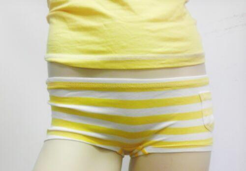 Low Rise Panty Boy Booty Shorts Pants Yellow White Stripes Underwear W// Pocket L