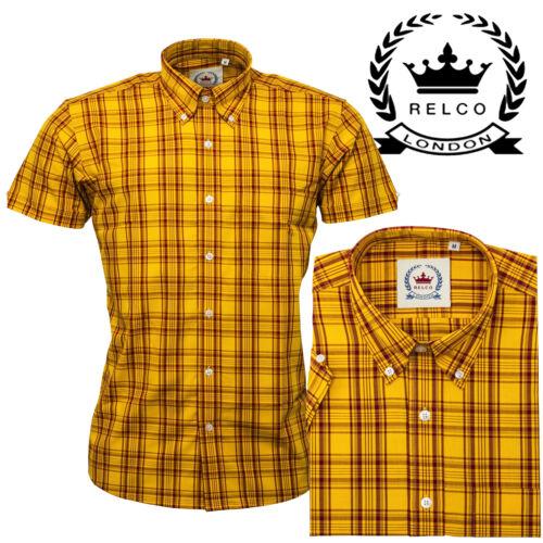 Relco Men/'s Yellow Burgundy Mustard Check Short Sleeve Button Down Mod Shirt