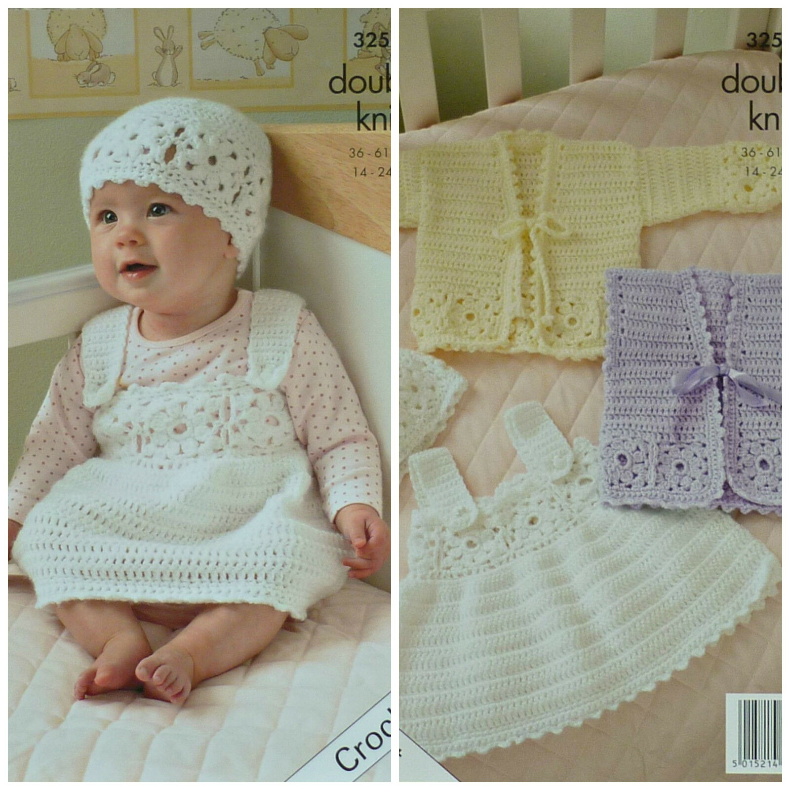 Hat King Cole 5145 Babies DK Dress Bunting Booties Crochet Pattern