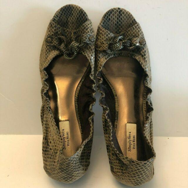 Simply Vera Wang Women's Peep Toe Faux Snakeskin Taupe Ballet Flats Size 8.5 M