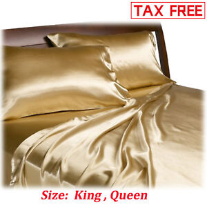 Satin-Charmeuse-Sheet-Set-Queen-King-Soft-Silk-Feel-Bedding-4-Pcs-Luxury-Gold