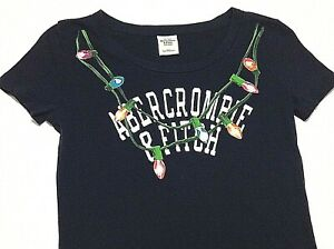 Abercrombie-amp-Fitch-Womens-Sz-Small-S-Shirt-Top-Christmas-Lights-Holiday-Shirt