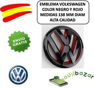 EMBLEMA-LOGO-VW-ROJO-NEGRO-PARRILLA-VOLKSWAGEN-GOLF-GTI-6-138MM