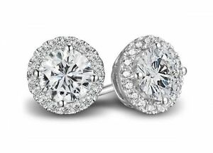1-50ct-Round-Cut-Solitaire-Halo-Pave-Earring-Studs-Solid-14K-WhiteGold-Screwback