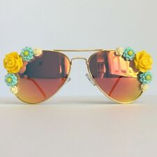 Chloe -2PinksAndMinks Amber Reflective Embellished Sunglasses Yellow Blue Flower