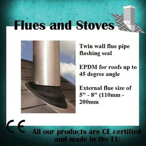 Twin Wall Flue Pipe Epdm Flashing For 0 45 Degree Roofs