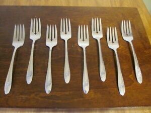 Oneida Queen Bess II Set 8 Salat Gabeln Gemeinschaft Silverplate Bestecke Lot C