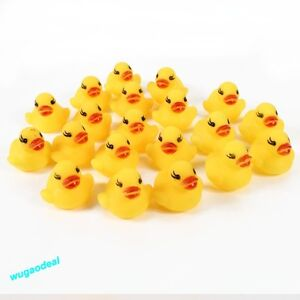 20 Mini PCS Yellow Bathtime Duck Bath Toy Squeaky Water Play Fun Kids Toddler