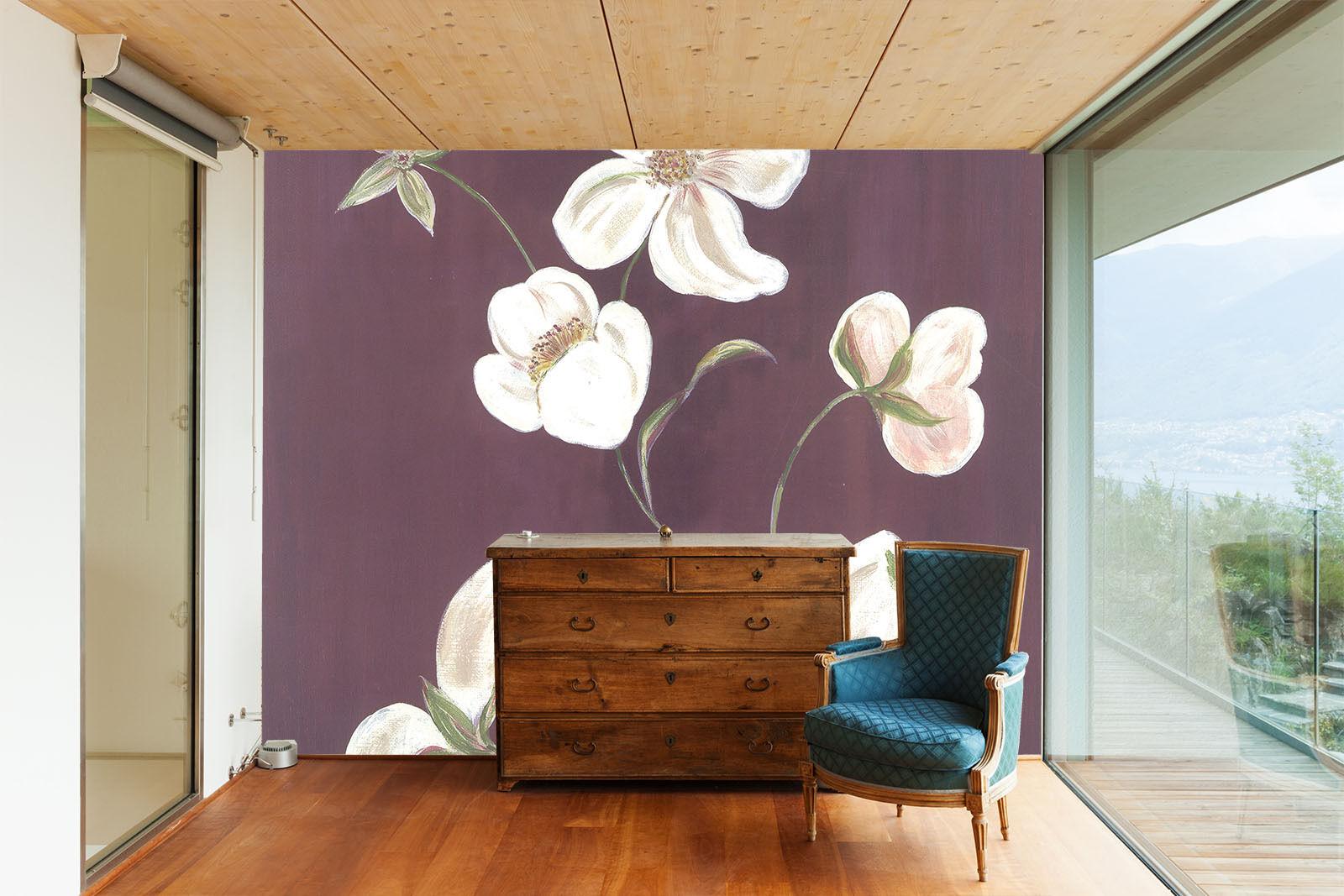 3D Die weißen blüten im Wind  Fototapeten Wandbild Fototapete BildTapete Familie