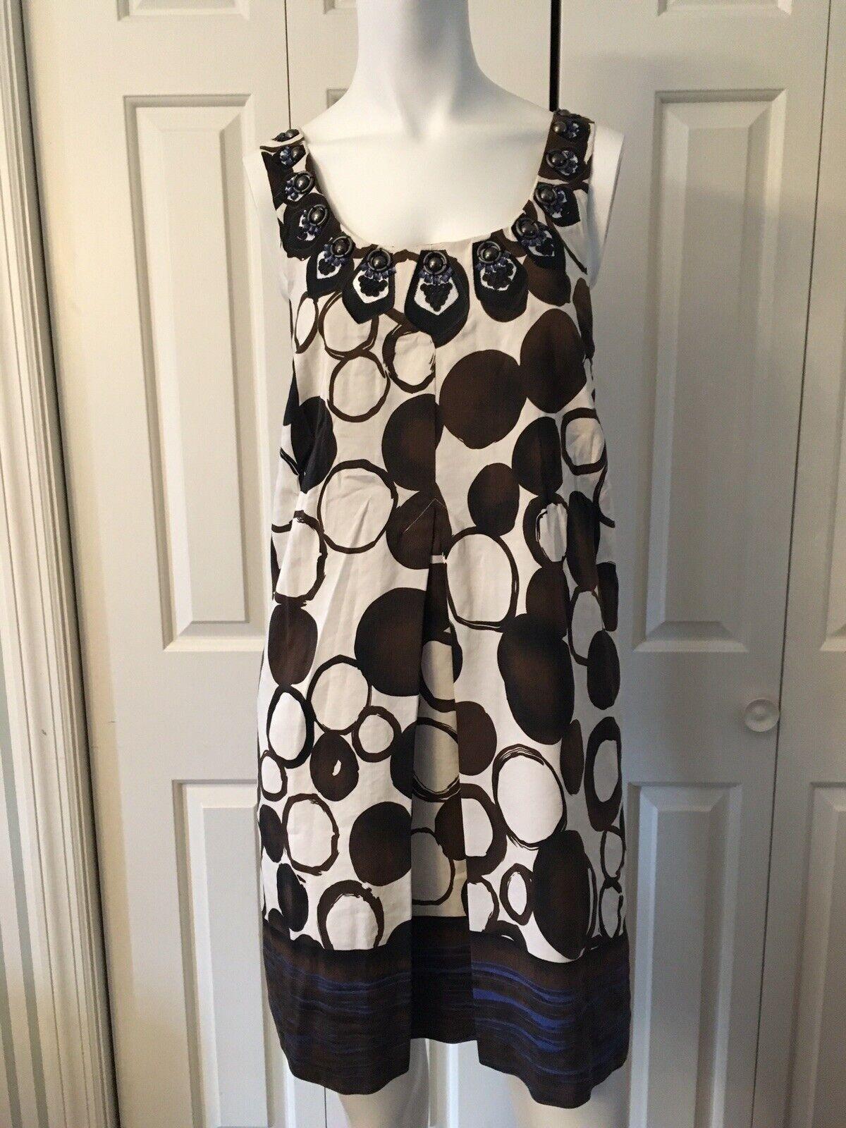Kensie Sz S M braun Shift Dress Silk Linen Blend Neckline Embelishment EUC