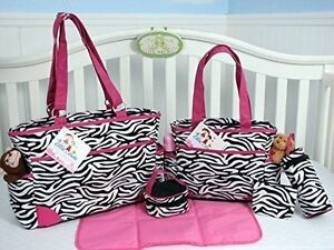 Image Is Loading Zebra Print Diaper Bags Sets 6 Pieces Pink