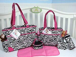 Zebra Animal Print Diaper Bags Sets 6 Pieces Pink Black ...