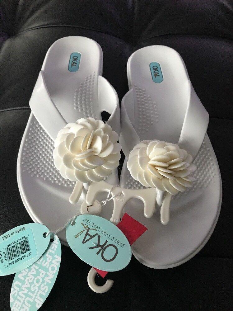 Oka-b. Catherine Salt Weiß Oka B Flower Toe Slide Sandal Large (10-11) Rare