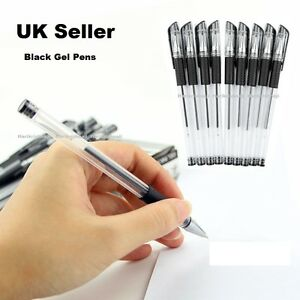 Pack-7-BLACK-GEL-INK-PENS-Smooth-Flow-Ink-Handwriting-Home-School-or-Office