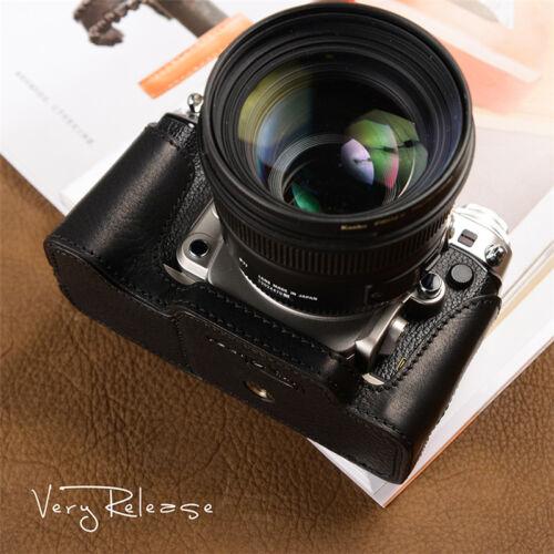 Protector De Cuero Negro Estilo Retro Hecho a Mano media caso bolsa para cámara Nikon Df
