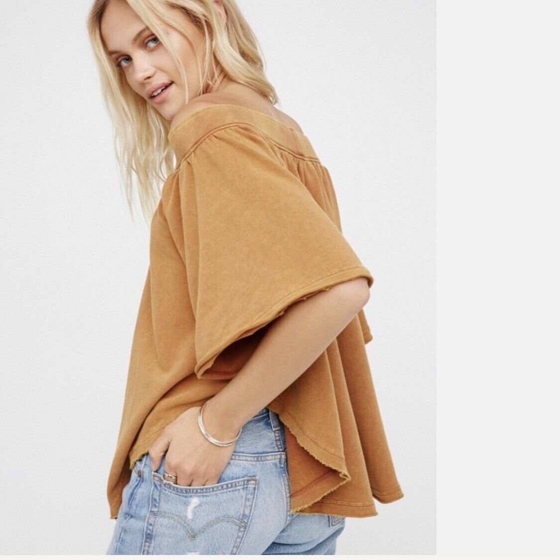 NWT FREE PEOPLE Kiss Me Off Shoulder Knit Top Terracotta SMALL S  OB683180