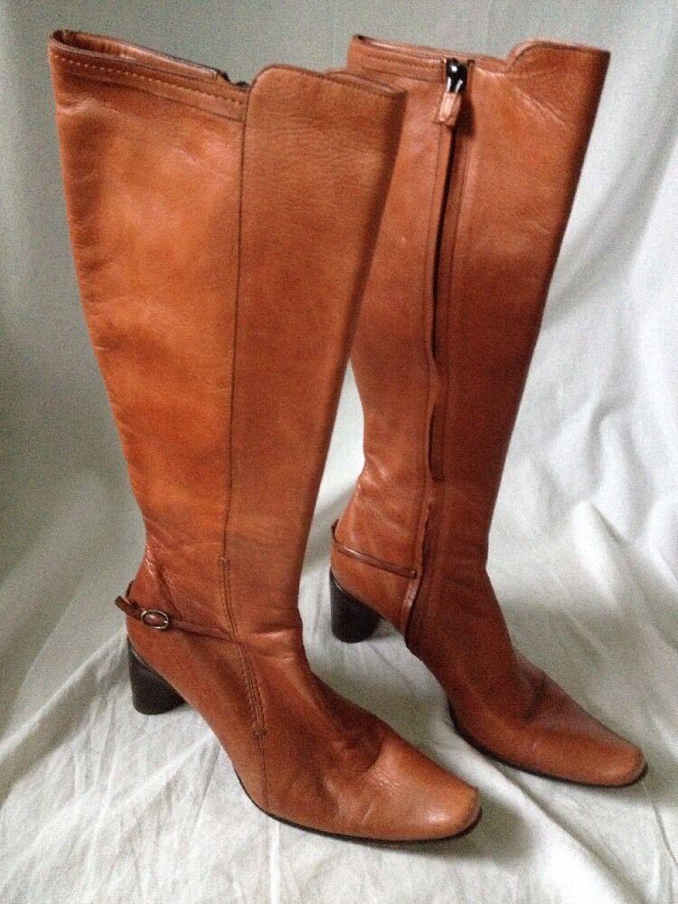 Brown Costume National Calf High Soft Leather Boots EUC Sz 6 Eu 37