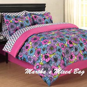 girl pink purple floral summer bloom full twin size bedding comforter set sheets ebay. Black Bedroom Furniture Sets. Home Design Ideas