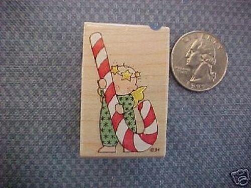 Candy Cane Angel Hallmark Wood Back Stamp NEW