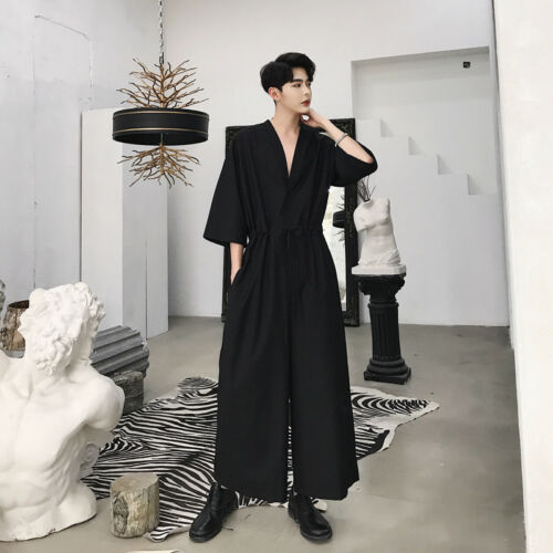 Mens V-neck Long Sleeves Loose Wide Leg Pants Fashion Style Jumpsuit Hot A966